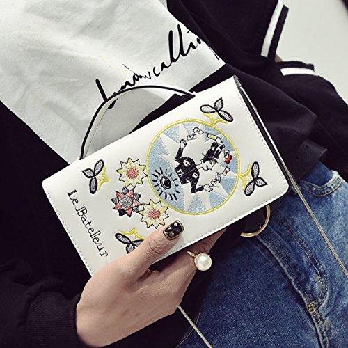 Art und Weise Weibliche Stickerei Kleine Quadratische Beutelhandtaschenketten-Schulterbeutelfreizeit Kurierbeutel Weiß