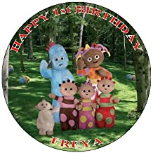 "IN THE NIGHT GARDEN - D 2 PERSONALIZED 7.5"" CIRCLE ICING CAKE TOPPER- ANY NAME,AGE OR MESSAGE USE THE GREETING MESSAGE WHEN YOU CHECK OUT OR EMAIL ME WITH THE NAME"