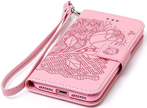 Nnopbeclik Hülle Für Apple Iphone 7, Flip Leder Tasche Handyhülle Für Iphone 7, Drucken Blume Muster Folio PU Leather Wallet Blume Case mit Karte Halter-Magnetverschluß-Klappbar Stand Handytasche Mult Rosa,Pink