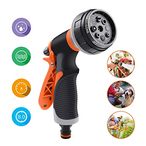 AFUNSO Garden Hose Nozzle Spray High Pressure 8 Adjustable Watering Patterns Hand Rotating Sprayer for Watering Lawn and Garden, Cleaning, Car Wash and Showering Dogs&Pets