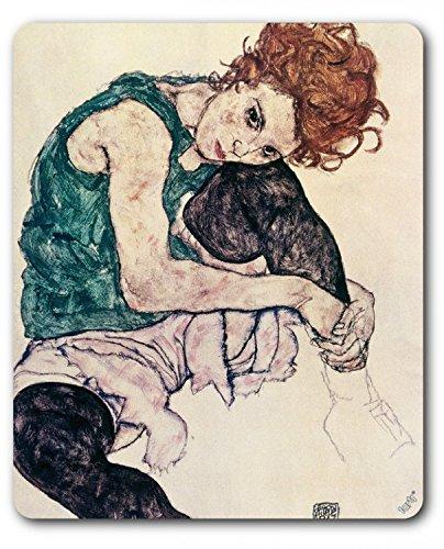 1art1 89227 Egon Schiele - Die Frau Des Künstlers, Sitzende Frau, 1917 Mauspad 23 x 19 cm