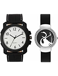 SVM VL13VT21 New Couple Combo Designer Stylish Leather & Plastic Belt Analog Watch For Men & Women