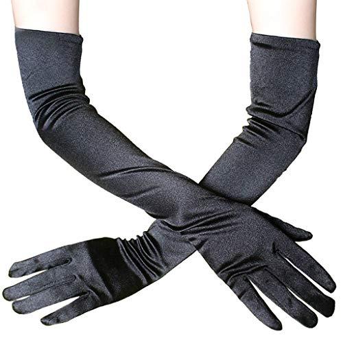 uen Sexy Braut Handschuhe Satin Opera Fest Party Audrey Hepburn Lange Handschuhe 1920er Stil Klassische Fingerhandschuhe für Hochzeit Kostüme (Länge: 54cm, Black) ()