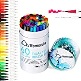 Dual Tip Art Marker, Homecube 60 Colours Brush Pens Sets Soft Flexible Brush