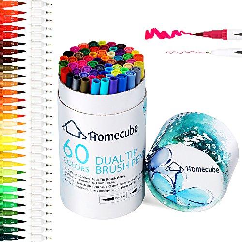 Pinselstift Set mit zwei Spitzen - Homecube Aquarellstifte Aquarell Wasserfarben Effekt 60 Farben watercolor brush pen Buntstifte Stifte für Manga Comic Zeichnen Kalligrafie (Echter Spitze)