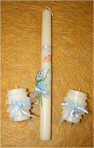Velas de bautizo personalizadas-Set de velas de bautizo compuesto por tres velas de bautizo foto y lazo, decorada con una fotografía del bebe, una cinta, un ramillete de flores, una perla blanca con un lazo y chupete (azul)