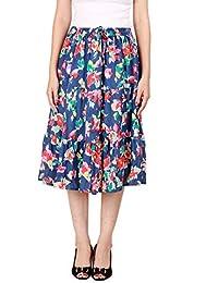 COTTON BREEZE Women's A-line Skirt (FP567, Blue, Free Size)
