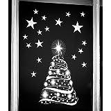 Árbol de estrella con estrellas ventana se aferran pegatinas–Temporada Navidad ventana decoraciones por Stickers4.