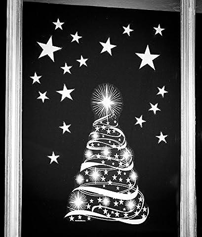 Stickers4 Fensteraufkleber, Christbaum mit Sternen, für Weihnachten