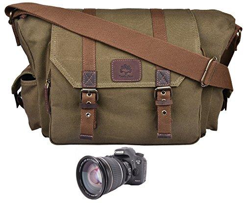 Kleine Baumwolle-feld (Rustikal Town Herren Canvas Leder DSLR SLR Vintage Kameratasche Messenger Bag Geschenk für Ihm Ihre, olivgrün (Grün) - 732030817791)