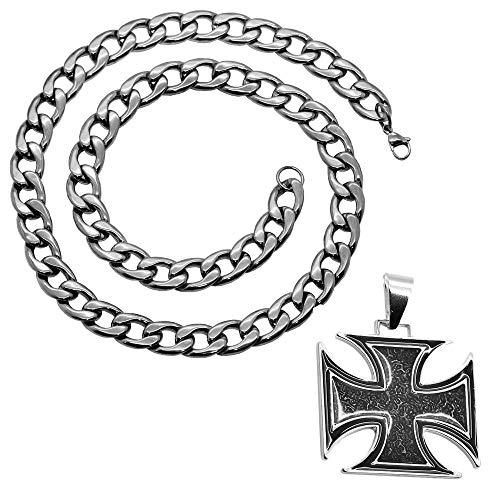 tumundo Panzerkette Halskette Mit Anhänger Edelstahl Königskette Herren-Kette Eisernes Kreuz Ø 7mm Thorhammer Totenkopf, Farbe:Modell 7-55cm