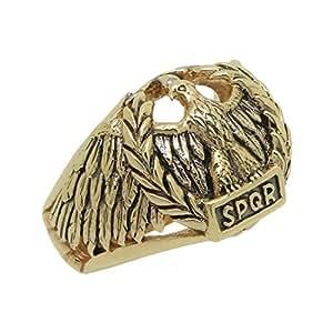 elegante e grazioso fornitore ufficiale nuovo design Anello da uomo fatto a mano con aquila romana, SPQR, in oro ...