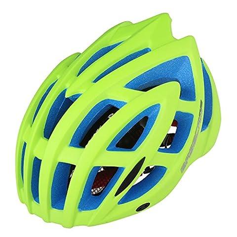 Eco-Friendly Super Light intégralement casque de vélo, ajustable léger Mountain Road casques de vélo pour les hommes et les femmes cyclisme vélo de route vélo de montagne VTT casque de sécurité ( Color : Fluorescent green )