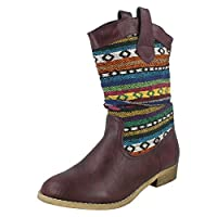 Spot On Ladies Low Heel Aztec Design Boots