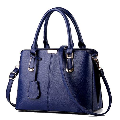 Thboxes - Borsetta da donna in ecopelle, borsa a tracolla alla moda con manici sulla parte superiore blu