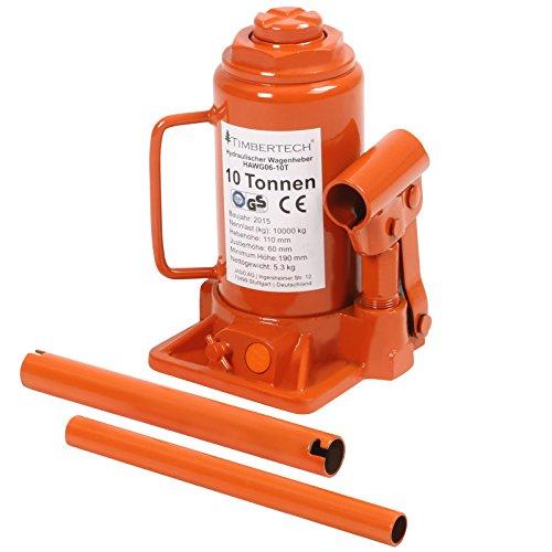 Timbertech Cric sollevatore a bottiglia idraulico con portata nominale da 10 T