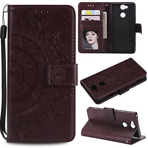 BONROY Hülle für Sony Xperia XA2 Ultra Handytasche Handy Hüllen Flip Case Cover Schutzhülle Brieftasche Ledertasche Wallet Lederhülle Etui Bookstyle Klapphülle Kartenfächer-(HH Totem Geprägt-Braun)