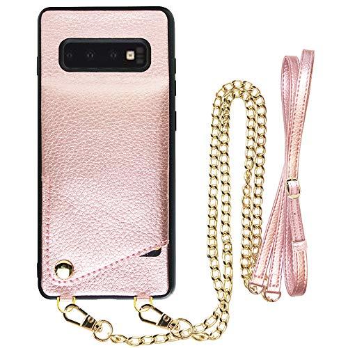 JLFCH Wallet Case für Galaxy S10 Plus 6.4 Zoll Leder Wallet Case mit Kreditkarten-Halter Crossbody Chain Strap Handtasche Geldbörse Schutzhülle für Galaxy S10 Plus, Galaxy S10, S10 Rose Gold