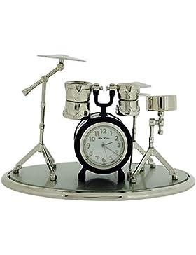 Miniatur Uhren Schlagzeug silberf. & schw. lackierte Sammleruhr 9078