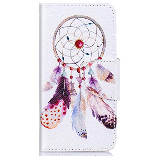 kompatibel mit Huawei Y5 II Hülle,Huawei Y6 II Compact Lederhülle,Huawei Y6 II Compact Tasche Leder Flip Case Brieftasche,Gelmat Muster Handyhülle Schutzhülle für Huawei Y5 II (Dreamcatcher)