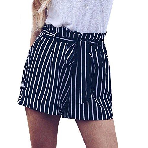 Hosen Damen Kolylong Frauen Elegant Gestreifte Hohe Taille Hose Kurze Vintage Streifen Hosen mit Gürtel Strand Mini Shorts Sommer Hot Pants Lose Yoga Sporthosen (Marine, XL)