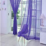 TAOtTAO 1 Stück Reine Farbe Tulle Tür Fenster Vorhang Drape Panel Sheer Schal Volants (I)