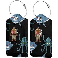 Dataqe Étiquettes de bagage pour protection visuelle 7,9 x 11,9 cm (plongeur dans une combinaison de plongée ancienne et monstres marins - Noir - 2 pièces