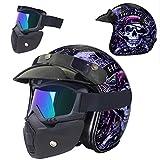 WLY Casque de Moto en Cuir Vintage Harley Skull Helmet Open Face Cruiser...