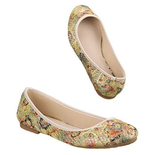 Ital-Design Ital-Design Ballerinas Damen-Schuhe Blockabsatz Moderne Ballerinas Beige Multi, Gr 36, El13260-