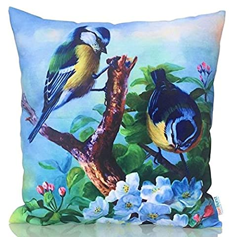 Sunburst Outdoor Living 60cm x 60cm BLUE BIRDS Beautiful Decorative Throw Pillow Cushion Cover for Couch, Bed, Sofa or Patio - Only Case, No Insert