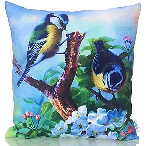 Sunburst vida al aire libre opulento diseño marroquí manta decorativa almohada cojín funda para sofá, cama, sofá o Patio–Único caso, no Insertar, poliéster, Blue Birds, 18