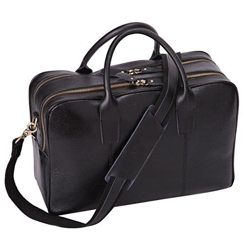 Leathario borsa a spalla in pelle da uomo per lavoro ventiquattrore a mano porta pc 14 pollici nero