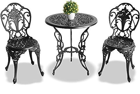Centurion Supports Positano Jardin et patio Table et 2chaises en fonte d'aluminium Table de bistrot–Noir