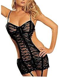 TOOGOO(R) Sexy erotische Unterwaesche Damen Dessous Nachtwaesche Kostueme Spitze Nachtwaesche Kleid Koerper Strumpf Erotik Schwarz L