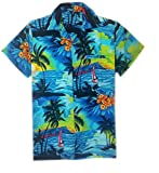 MENS HAWAIIAN SHIRT STAG BEACH HAWAII ALOHA PARTY SUMMER HOLIDAY FANCY BEACH PALM (M, BLUE BEACH PALM)