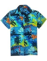 Camisa hawaiana para hombre, diseño de playa y palmeras, para la playa, fiestas, verano y vacaciones