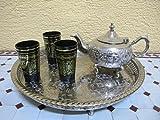 Marokkanisches Orientalisches Arabisches Teetablett Serviertablett silber Ø 37 cm