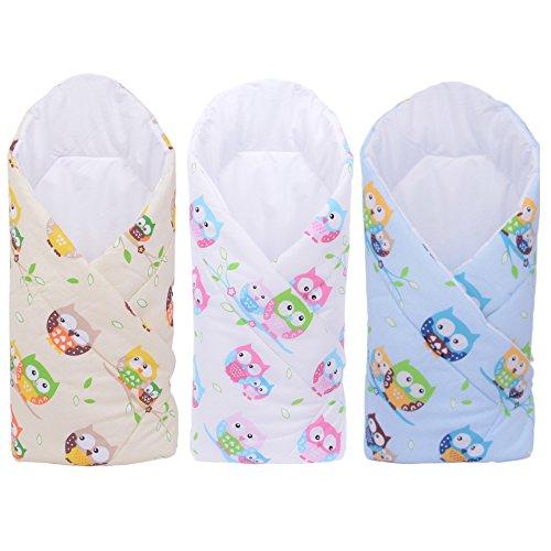 Sevira Kids - Gigoteuse d'emmaillotage Multi-Usage en 100% coton Certifié - Nid d'ange naissance - Fantaisie Hiboux, Différent coloris