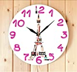 LAYYYQX Paris Cosmetic Concept Contemporary Wall Clock Eiffel Tower Girl Room Make Up Wall Art Silent Wall Watch Gifts