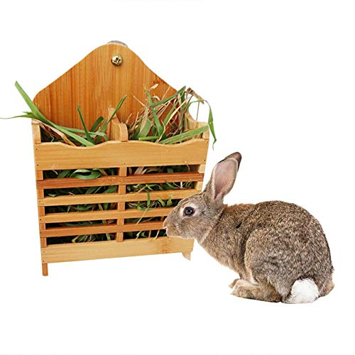PER Heu Feeder Rack Holz Heu Rack Halter Kleintier Heu Bambus Gras Krippe stehen für Kaninchen Meerschweinchen Chinchilla Hamster Kleines Haustier (Rack Rippen)