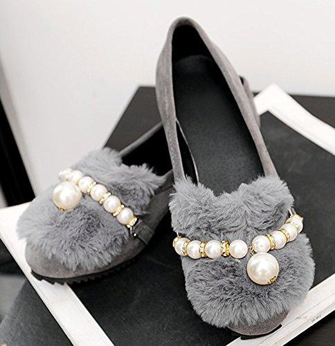 Easemax Femme Confortable Perles Bride Cheville Mocassins Gris
