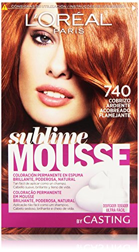 L'Oreal Paris Sublime Mousse Coloración Permanente, Tono: 740 Cobrizo Ardiente - 200 g