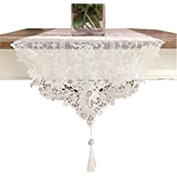 Ethomes White lace embroidered table runner with tassel 70cm