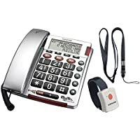 Audioline BigTel 50 Alarm Plus, Schnurgebundenes Großtastentelefon mit Notrufsender und optischer Rufsignalisation