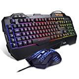 Gaming Keyboard {UK Layout}, HAVIT Rainbow LED Backlit Wired Keyboard and Mouse Combo Set, Black