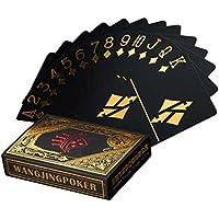 Cartas de póquer impermeables negros que juegan tarjetas de póquer profesionales tarjetas de la tarjeta de juego de juego de plástico de alta calidad de plástico de póquer para su placer de póquer (Oro)