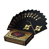 Carte di Poker impermeabili définies. Nero progettazione poker carte professionale in plastica nell' affare alluminio. Top qualità per il tuo piacere di poker, oro