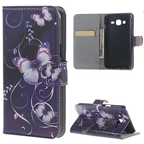 Samsung J5 Hülle ,Flip Case Cover Leder Tasche Hülle im Bookstyle mit Standfunktion Kredit Kartenfächer Schutzhülle für Samsung Galaxy J5 SM-J500F Brieftasche Handyhülle Etui Schalen (Lila Schmetterling)