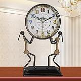 MoMo Tischuhr Europäischen Antique Mute Schmiedeeisen Uhr Wohnzimmer Kreative Mode Persönlichkeit Uhr Art Deco Vintage Quarzuhr