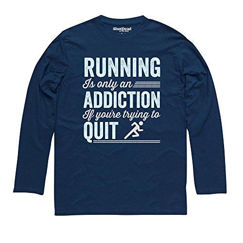 Running Addiction Langarmshirt Funny Novelty Gift, Herren Dunkelblau